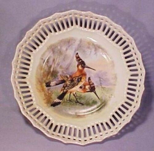 Vintage Austria Porcelain Woodpecker Bird Latticed Bowl