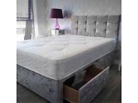 💛💛SUPREME QUALITY💛💛 DOUBLE CRUSHED VELVET DIVAN BED BASE WITH DEEP QUILTED MATTRESS
