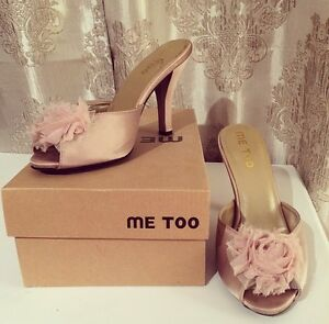 ME TOO • blush satin peep-toe pumps • Size 7.5