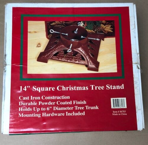 "Christmas Tree Stand Cast Iron Green 14"" Square Heavy Duty 16 lbs Vintage"