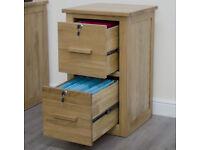New Solid Oak Furniture Lockable Filing Cabinet