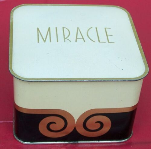 VINTAGE MIRACLE LENTHERIC DUSTING POWDER PUFF AND POWDER UNUSED IN ART DECO TIN!