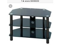 SERANO S800BG09 Black Glass, 3 toughened safety shelves, Ideal for flat panel TV, Max weight 80kg,