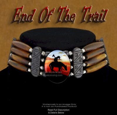 END OF TRAIL CARVED BUFFALO BONE, BEAD & LEATHER CHOKER NECKLACE - ART GIFT *