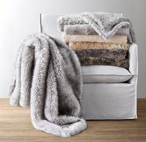 Restoration Hardware Luxe Faux Fur Throw Blanket Nursery Bedding Arctic Fox New