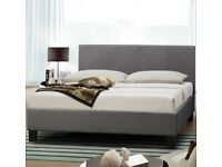 Grey fabric king size bed frame