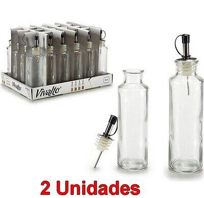 2 Unidades de Aceitera 150 ml de cristal, boquilla de metal, 4,5...