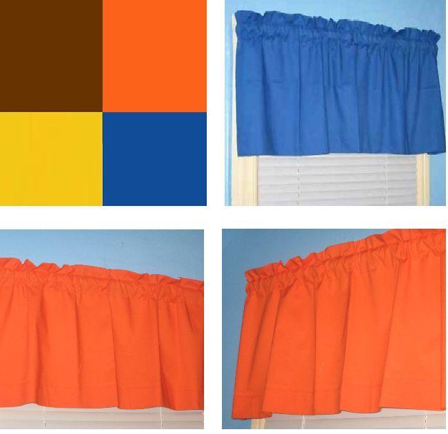 Handmade SOLID Cotton Brown Orange Yellow Blue Window Curtain Valance