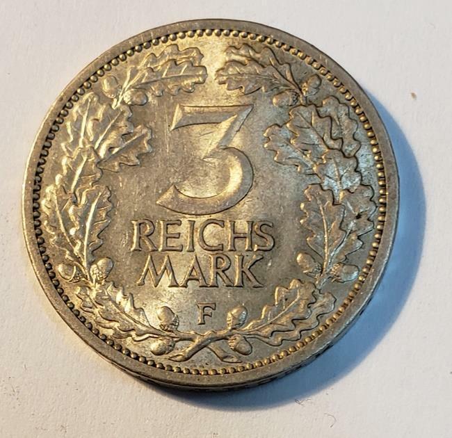 "3 Mark 1931F Germany Weimar Republic Silver ""Circulating Coin"" ""RARE"" Xf//Au"