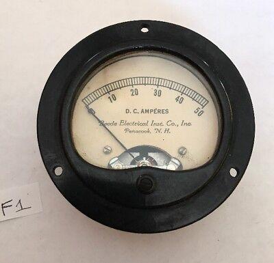 Vintage Beede Electrical Institute Dc Amperes Gauge Meter Steampunk F1