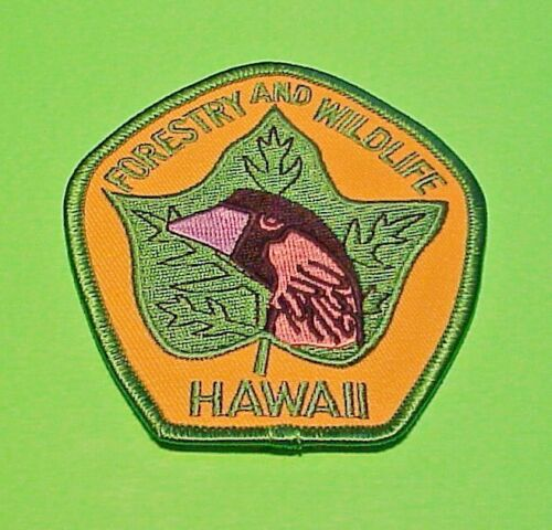 """HAWAII  FORESTRY AND WILDLIFE  COSERVATION / GAME WARDEN POLICE PATCH  3 1/2"""""""