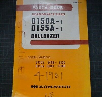 Komatsu D150 D155 Tractor Bulldozer Crawler Parts Manual Book Catalog Spare List