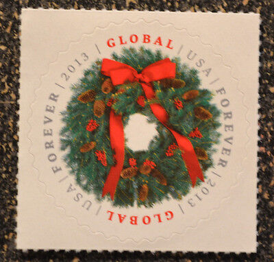 2013Usa  4814 Global Forever Rate   Evergreen Wreath  Single    Mint   Christmas