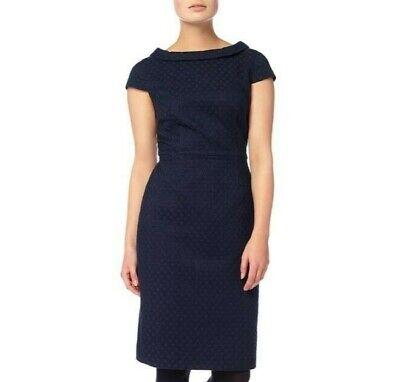 Phase Eight 50s Style Monroe Wiggle Navy Blue Textured Shift Dress UK12
