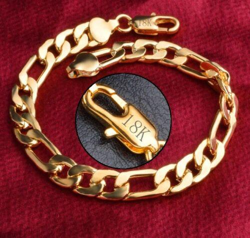 "18k Yellow Gold Mens Women Curb Link Chain Bracelet 7"" 71/2"" 8"" 9"" 10"" Size D698"