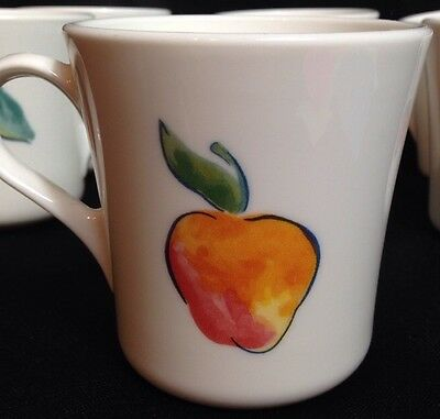 Corelle Corning FRUIT BASKET Coffee Cup Mugs Apple/Cherry Set of 6