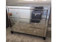 LARGE CHEST MIRROED DRAWERS COST 600