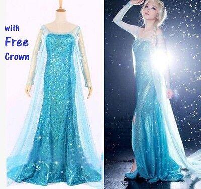 Frozen Elsa Erwachsene Kostüm Kleid Abend Party Blau alle Größen - Frozen Elsa Schnee Königin Kostüm
