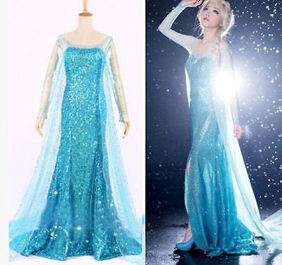 Frozen Elsa Maskenkostüm Abendkleid Erwachsene Alle Größen Blau Gratis Tiara ()