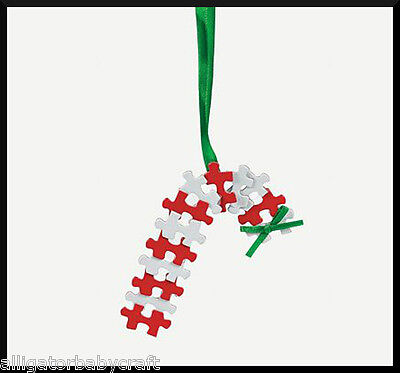 Candy Cane Puzzle Piece Christmas Ornament Winter Craft Kit for Kids ABCraft - Puzzle Piece Ornaments