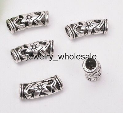 Flower Tube Spacer Beads (10pcs Tibetan Silver Flower Hollow Curved Tube Spacer Beads Jewelry 19.5mm D3063 )