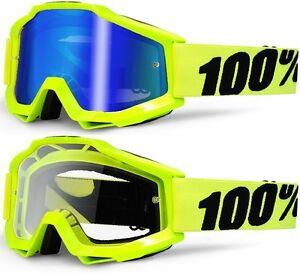 100 pourcent accuri lunettes motocross mx fluorescent flou jaune bleu miroir ebay. Black Bedroom Furniture Sets. Home Design Ideas