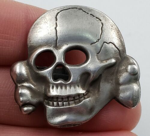 Vintage Silver Skull Hat Pins, Army, Badge, Cockade, Retro, Collection, Insignia
