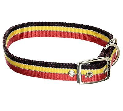 "Hamilton Double Thick  Nylon Dog Collar w/ Reflective Threads Red Black 1"" x 24"""