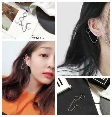 Heart Hoop Pierced Earrings - Girl Rock Non-Pierced Sweet Heart Ear Clips Hoop Clip-On Fake Earrings  Goth