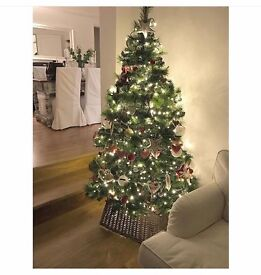 Pine needle artificial christmas tree natural look evergreen including metal stand 6ft