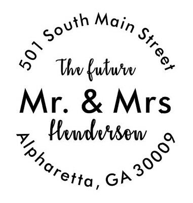 Custom Return Address Stamp - Future Mr And Mrs - Round Custom Wedding Stamp