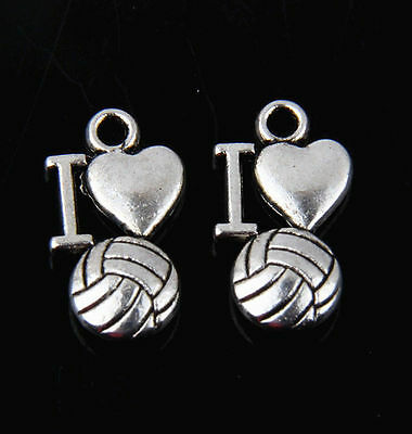 60pcs Tibetan Silver I love volleyball Pendants Charms For Jewelry Making FA765 - I Love Volleyball