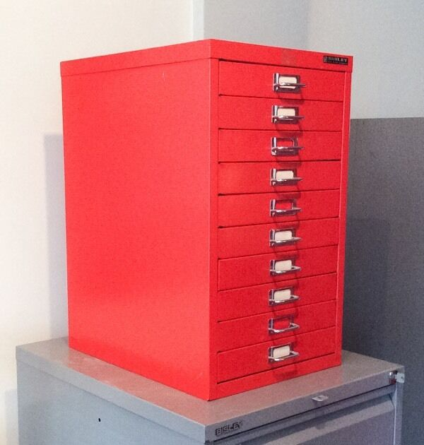 Beau Vintage BISLEY 10 DRAWER Metal Filing Cabinet Drawers Firecracker Red