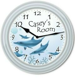Personalized Dolphin WALL CLOCK - Marine Sea Ocean Beach Home Decor - GREAT GIFT