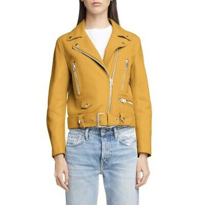 BNWT ACNE STUDIOS MOCK SUNFLOWER YELLOW LEATHER MOTO BIKER JACKET COAT SIZE 38