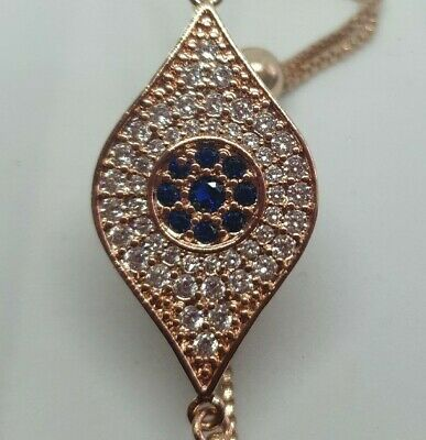 Jon Richard Rose Gold Tone Blue & Clear Cubic Zirconia Toggle Bracelet Rrp £15.