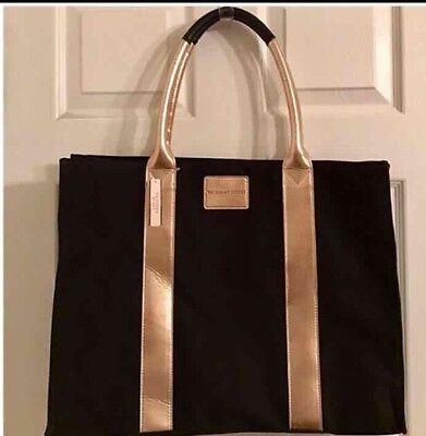 VICTORIAS secret Overnight Bag Black With rose Gold Trim NWT
