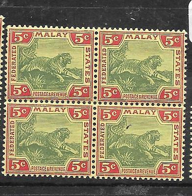 MALAYA FMS (P3012B) TIGER 5C SG 39C BL OF 4  MNH