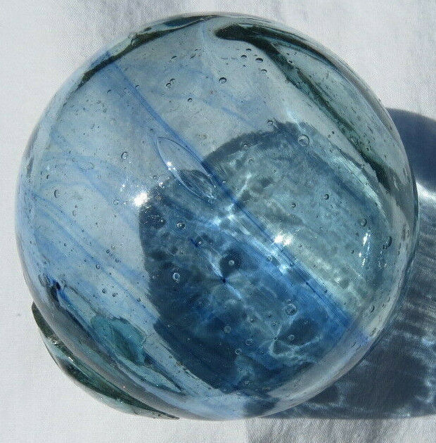 "Japanese Blown Glass FLOAT 3"" Aqua w/COBALT Blue Swirls Bubbles +Stand"
