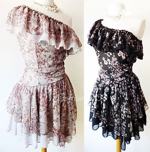 NEW-Gray-or-Black-Floral-Off-One-Shoulder-Asymmetric-Ruffle-LOVELY-Chiffon-Dress
