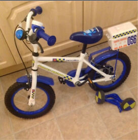 """Kids 14"""" Police bike - with removable stabilisers and siren/lights"""