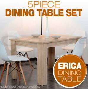 Set of 1x Wooden Square Dining Table + 4x Eames Dining Chair New Melbourne CBD Melbourne City Preview