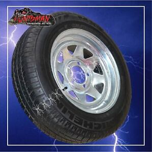 13-GALVANISED-BOAT-TRAILER-NEW-WHEEL-2ND-TYRE-HOLDEN-HT-OR-FORD-PATTERN