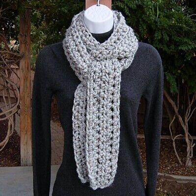Light Gray Tweed Winter Scarf Chunky Thick Handmade Crochet Knit, Men's, Women's