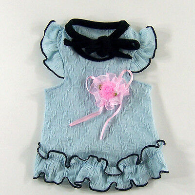 Dog&Cat Clothes Lace Skirts with Flower Brooch, Pet Dresses_E300 Sky Blue,sz XL