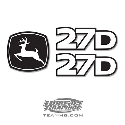 John Deere 27d 27-d Mini Excavator Premium Vinyl Decal Set - Equipment Graphics
