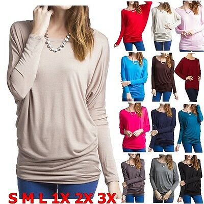 Fashion Womens Loose Long Sleeve Batwing Dolman Tunic Blouse Top T Shirt Plus