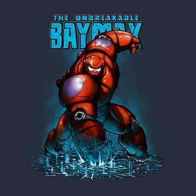 BIG HERO 6 Unbreakable Baymax Marvel Comics Iron Man Avenger NEW TEEFURY T-SHIRT](Baymax Marvel)