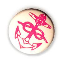 Badge Anchor Sailor Tattoo Rosa - Bianco Ancre Boat Rockabilly Punk Gothic Ø25mm - anchor - ebay.it