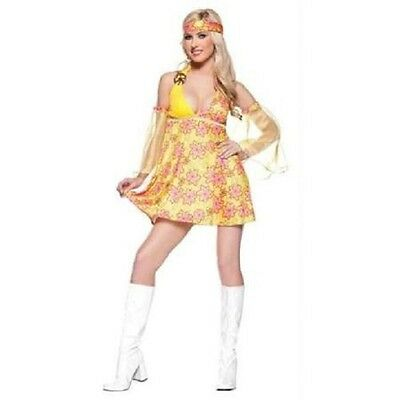 Flower Child Halloween Costumes (HALLOWEEN FLOWER CHILD Adult 60s Women's Costume X-LARGE XL BRAND NEW)